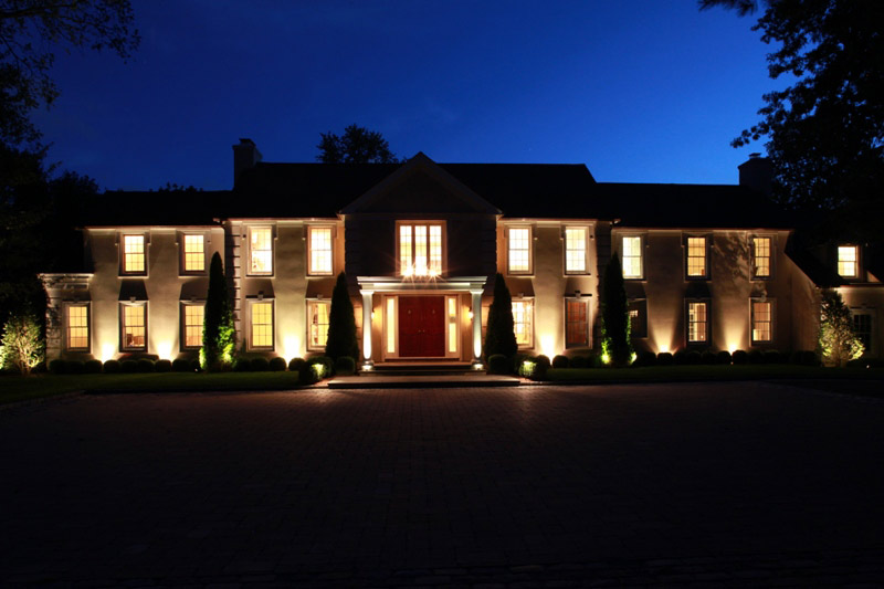 Colonial Home with Low Voltage Outdoor Lighting