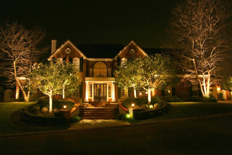 Brick House with Low Voltage Outdoor Lighting