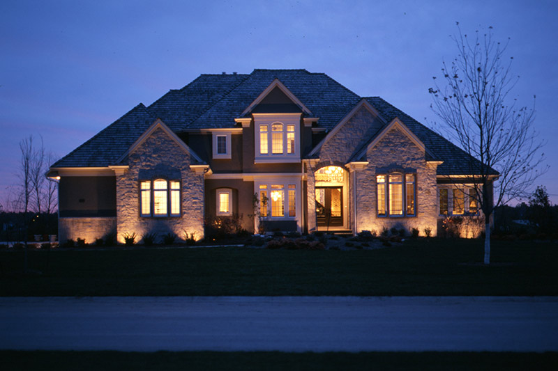 Stone House with Low Voltage Outdoor Lighting